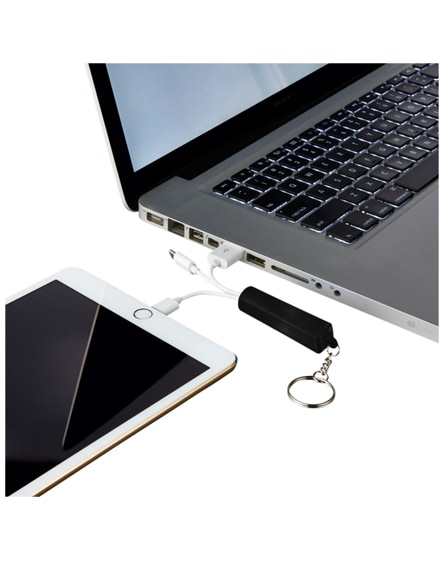 branded route 3-in-1 light-up charging cable with keychain