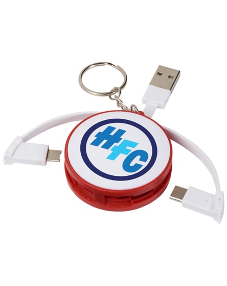 branded wrap-around 3-in-1 charging cable with keychain