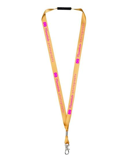 branded oro ribbon lanyard with break-away closure