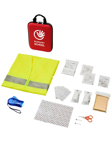 branded handies 46-piece first aid kit and safety vest