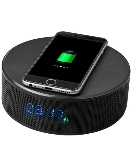 branded circle wireless charging alarm clock speaker