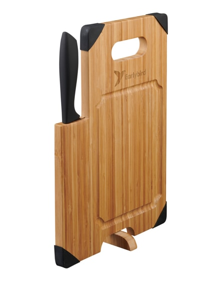 branded avery bamboo cutting board with knife