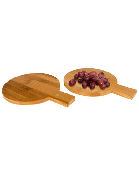 branded ayden 2-piece bamboo amuse set in round shape