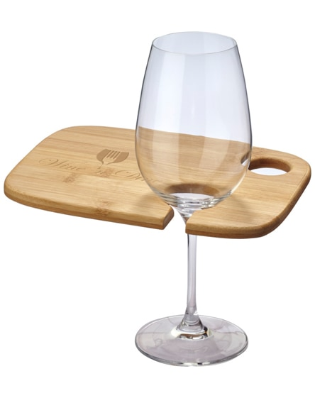 branded mill wooden appetiser board with wine glass holder