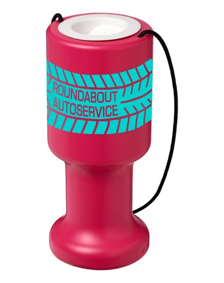 branded asra hand held plastic charity container