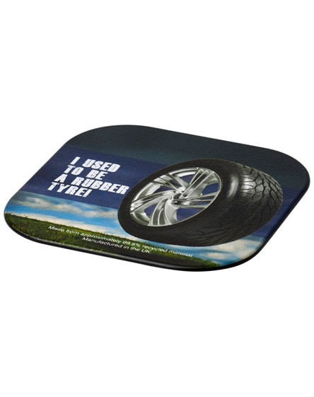 branded brite-mat square coaster with tyre material