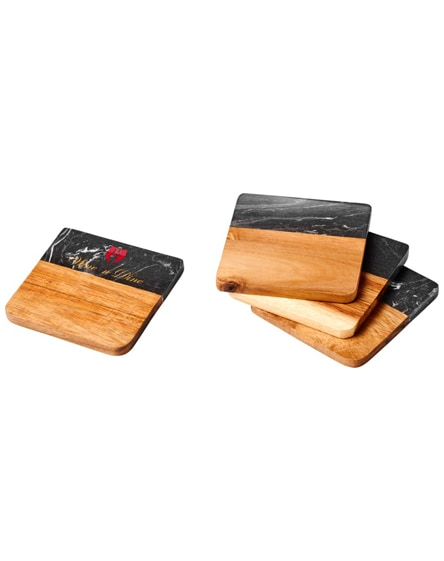 branded harlow marble and wood coasters