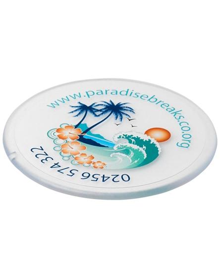 branded renzo round plastic coaster