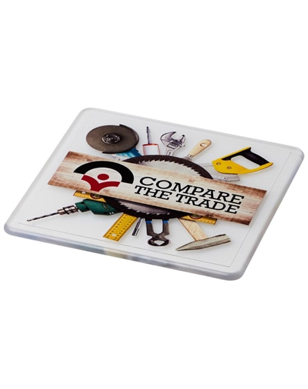 branded renzo square plastic coaster
