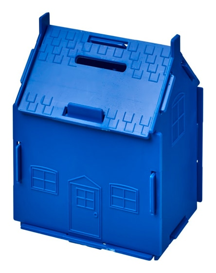 branded uri house-shaped plastic money container