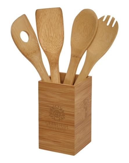 branded baylow 4-piece kitchen utensil set with holder