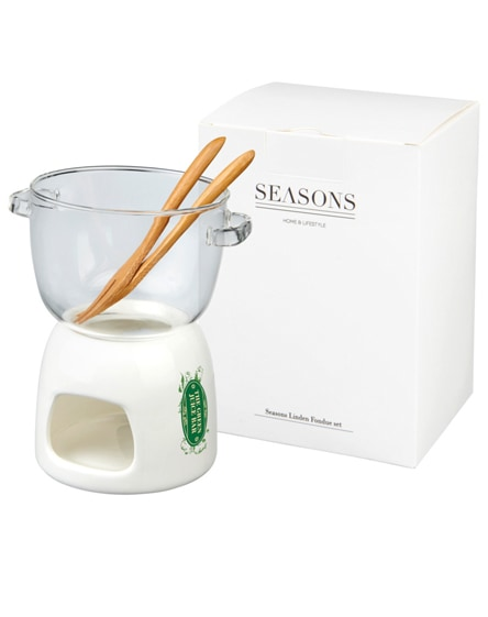 branded belgium glass chocolate fondue set