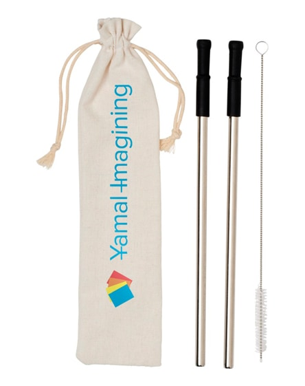 branded lena reusable stainless straw set