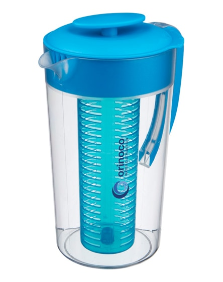 branded pebble beverage pitcher with fruit infuser