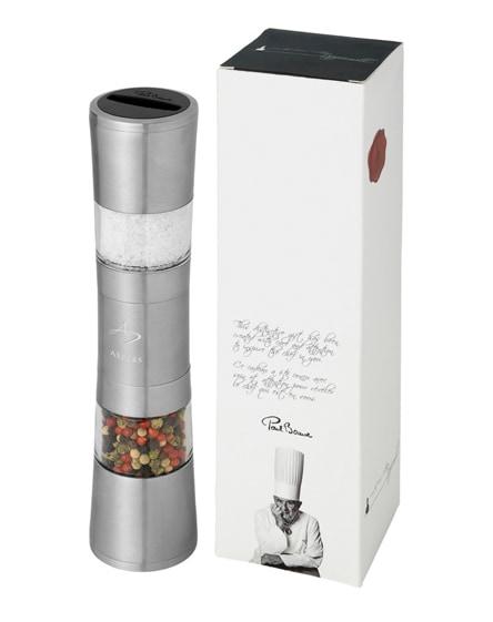 branded dual stainless steel pepper and salt grinder