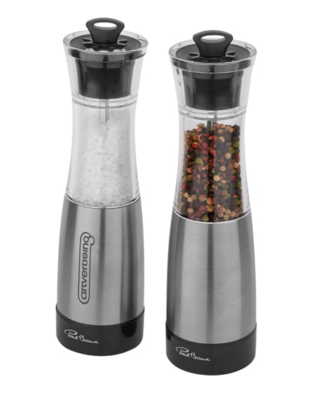 branded duo salt and pepper mill set