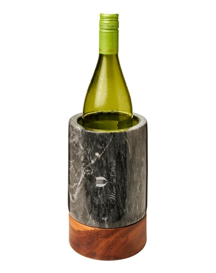 branded harlow marble and wood wine cooler