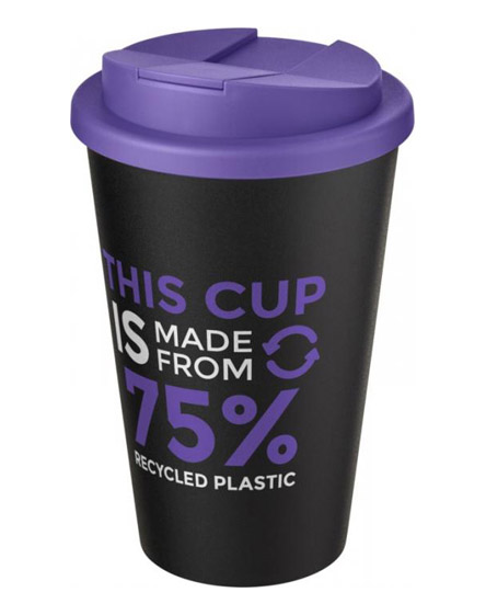 americano recycled cup with purple spill proof lid