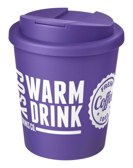 250ml spill proof lids branded reusable cups purple