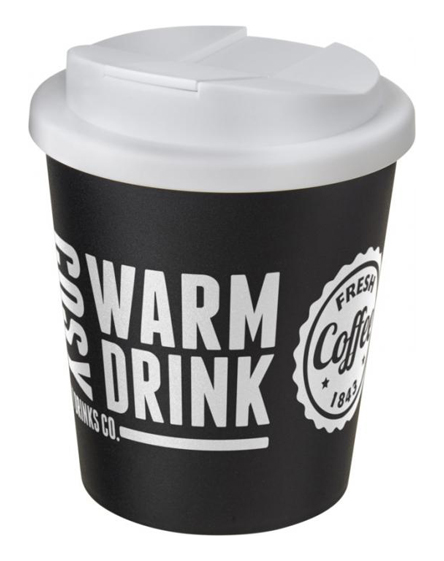 250ml spill proof lids branded reusable cups white