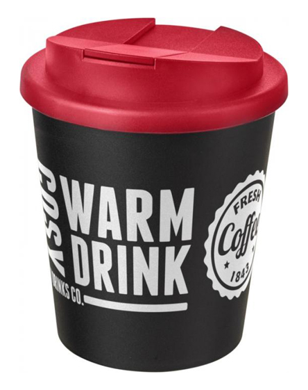 250ml spill proof lids branded reusable cups red