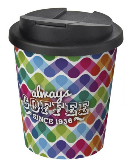 americano espresso full colour 250ml reusable cups with spill proof lids black