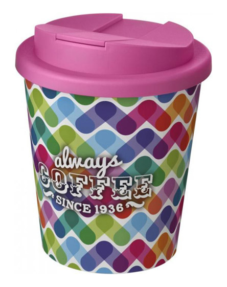 americano espresso full colour 250ml reusable cups with spill proof lids pink