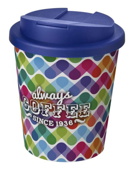 americano espresso full colour 250ml reusable cups with spill proof lids blue