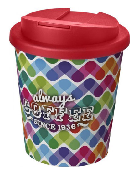 americano espresso full colour 250ml reusable cups with spill proof lids red