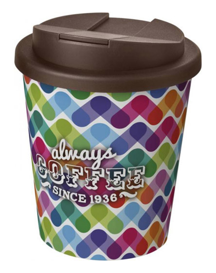 americano espresso full colour 250ml reusable cups with spill proof lids brown