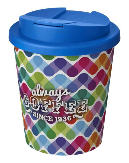 americano espresso full colour 250ml reusable cups with spill proof lids mid blue
