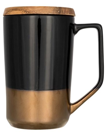 branded tahoe ceramic mug with wooden lid