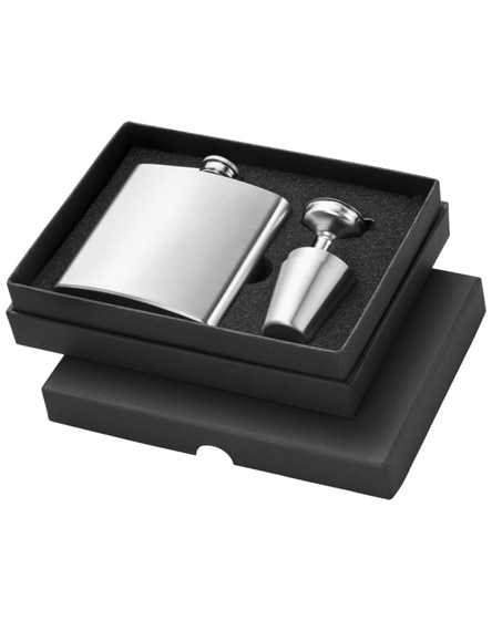 branded texas hip flask with two shot tumblers