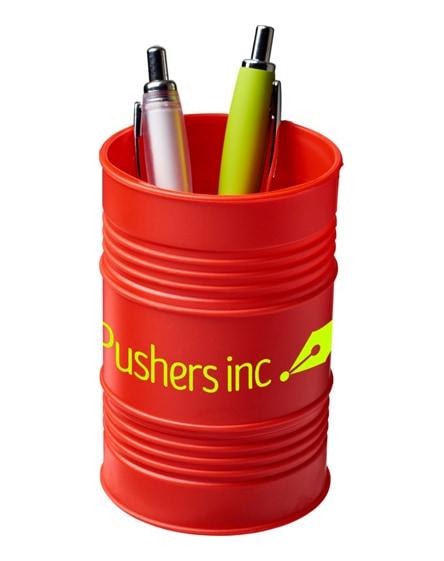 branded bardo oil drum style plastic pen pot
