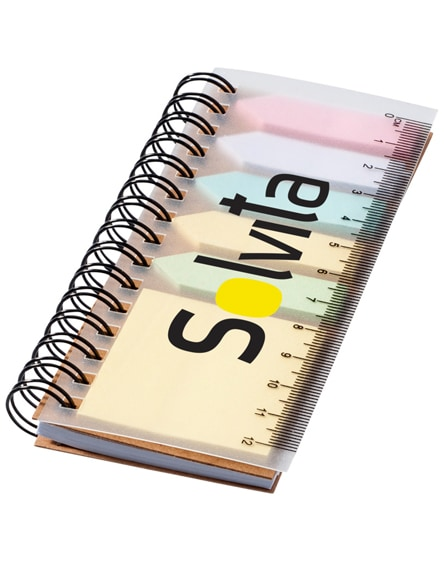 branded spinner spiral notebook with coloured sticky notes