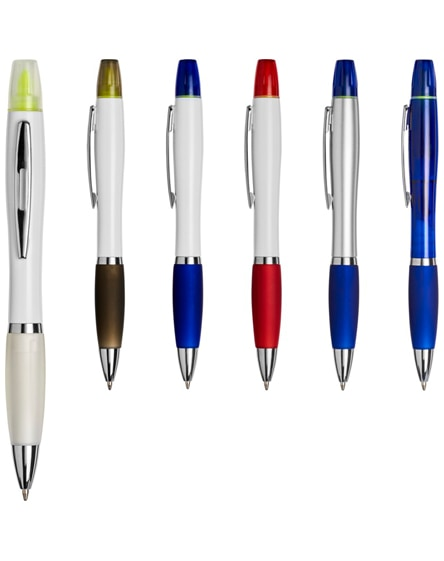 branded curvy ballpoint pen with highlighter