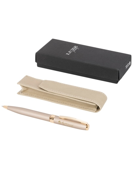 branded pearl pen gift set with pouch