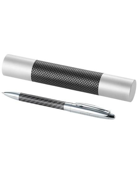 branded winona ballpoint pen with carbon fibre details