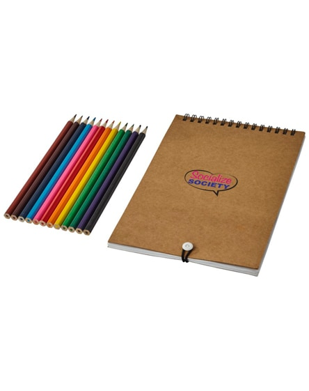 branded claude colouring set with notebook