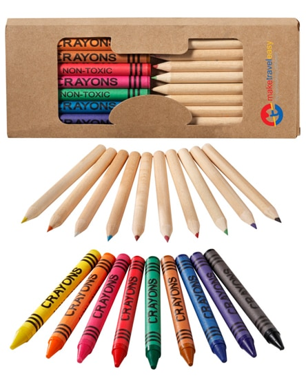 branded lucky 19-piece coloured pencil and crayon set