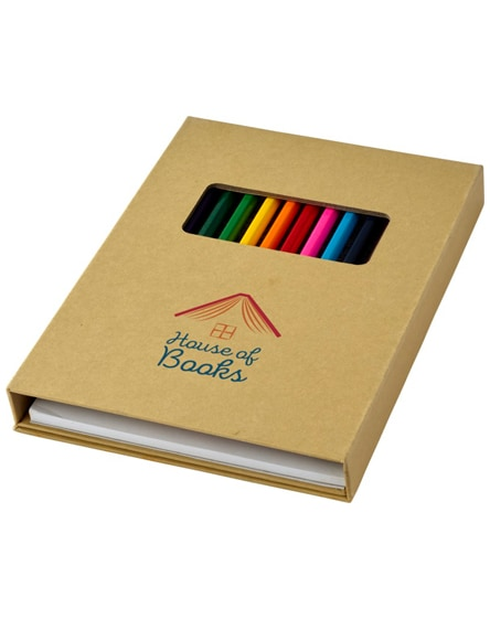 branded pablo colouring set with drawing paper