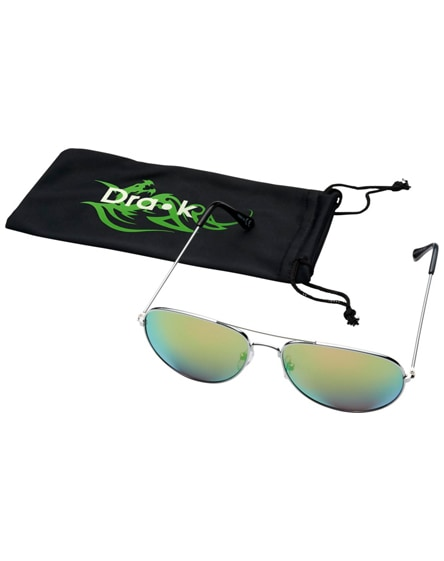 branded aviator sunglasses with coloured mirrored lenses