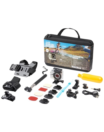 branded prixton dv609 action camera & accessories in case