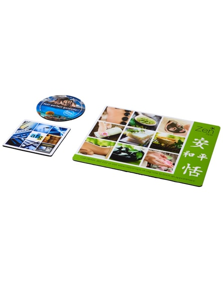 branded q-mat mouse mat and coaster set combo 1