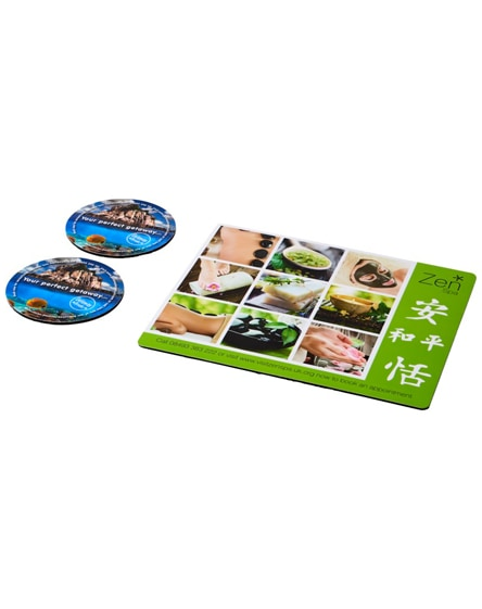 branded q-mat mouse mat and coaster set combo 2