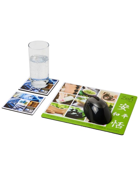 branded q-mat mouse mat and coaster set combo 3
