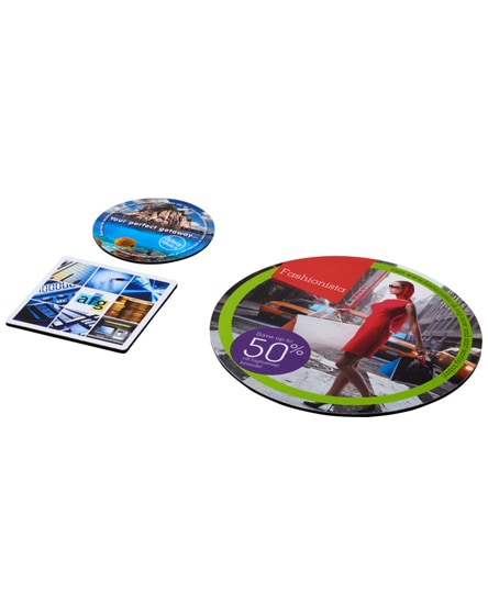 branded q-mat mouse mat and coaster set combo 4
