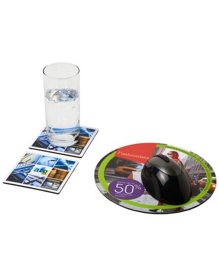 branded q-mat mouse mat and coaster set combo 6