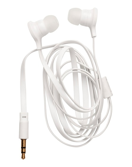 branded dish earbuds with clear plastic pouch