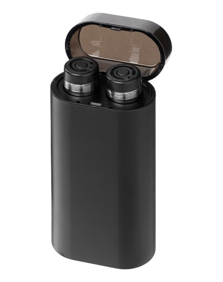 branded glow truewireless earbuds with light-up power bank